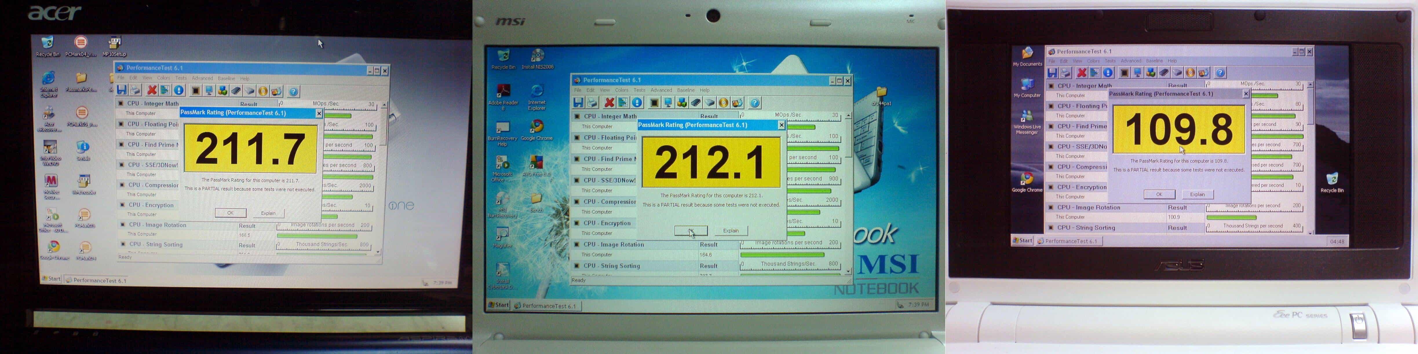 Acer Aspire One MSI Wind U100 Asus Eee PC Benchmarks