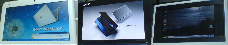 Acer Aspire One MSI Wind U100 Asus Eee PC Displays