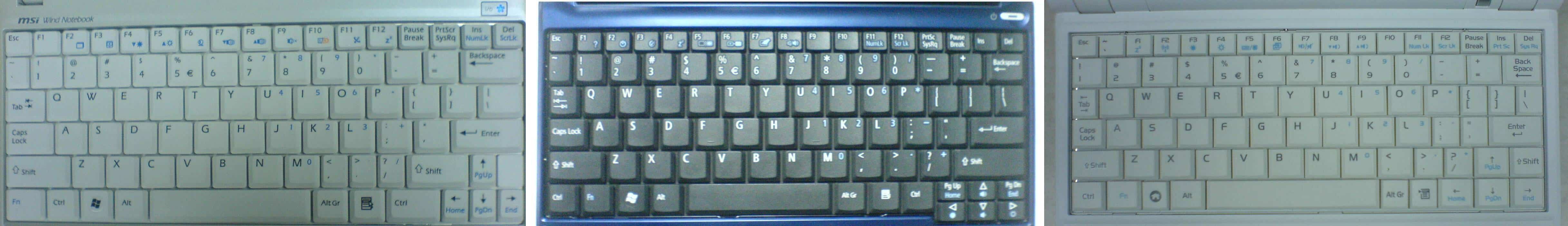 Acer Aspire One MSI Wind U100 Asus Eee PC Keyboards