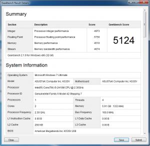 Asus K53SV GeekBench Intel