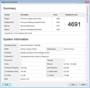 Dell Inspiron N5010 Geekbench