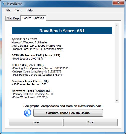 Asus K53SV NovaBench Benchmark nVidia