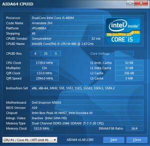 Dell Inspiron N5010 AIDA64 cpuid