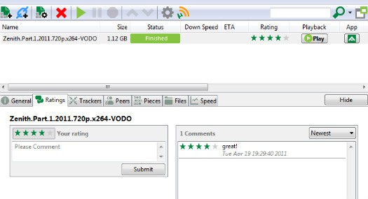 uTorrent comment rating