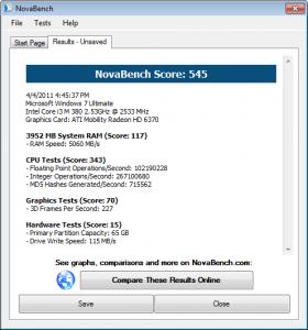 HP Probook 4520s Novabench