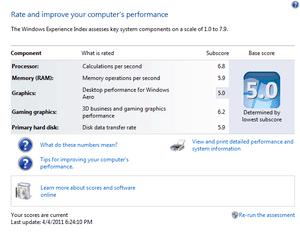 HP Probook 4520s Window 7 Index