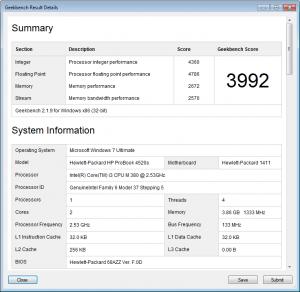 HP Probook 4520s geekbench